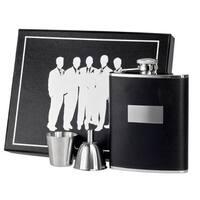 Visol Ontario Black Leather Legion Flask Gift Set - 6 ounces