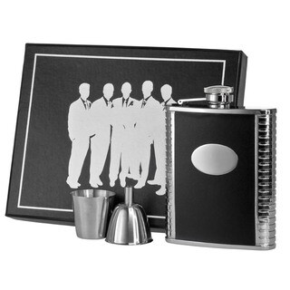 Visol Tux Black Leather and Stainless Steel Legion Flask Gift Set - 6 ounces