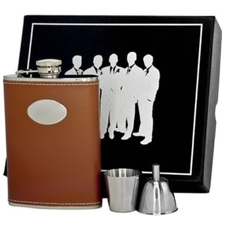Visol Hound Brown Leather Legion Flask Gift Set - 6 ounces