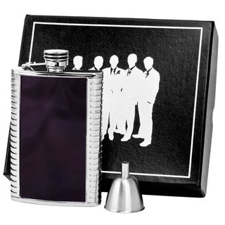 Visol Astaire Black and Stainless Steel Century II Flask Gift Set - 8 ounces