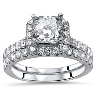 Noori Certified 18k White Gold Enhanced Cushion-cut 2ct TDW Diamond Engagement Ring Set