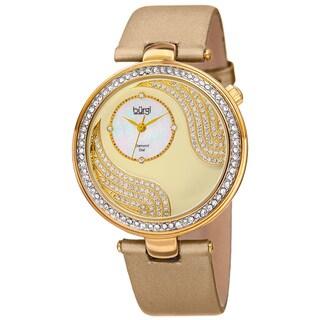 Burgi Women's Quartz Diamond and Crystal Satin Silk Gold-Tone Strap Watch