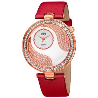 Burgi Women's Quartz Diamond and Crystal Satin Silk Red Strap Watch
