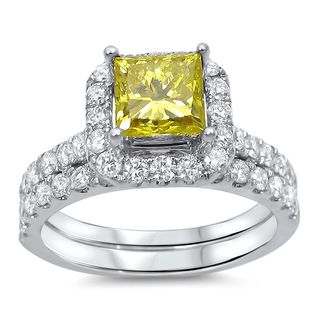 Noori 18k White Gold 1 3/5ct TDW Canary Yellow Princess Diamond Bridal Set (G-H, SI1-SI2)