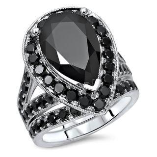 Noori 14k White Gold 6ct TDW Black Diamond Bridal Engagement Set