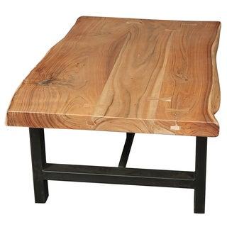 Wanderloot Gresham Live Edge Sustainable Acacia Wood Coffee Table with Decorative Joinery