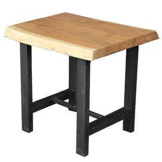 Wanderloot Gresham Live Edge Sustainable Acacia Wood End Table with Decorative Joinery