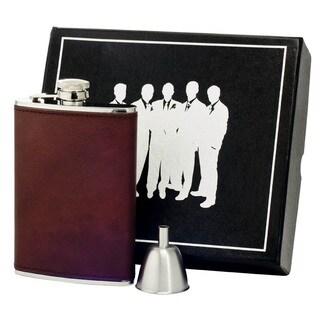 Visol Kenton Brown Leather Century II Flask Gift Set - 8 ounces