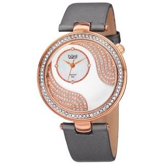 Bürgi Women's Quartz Diamond and Swarovski Accented Satin Silk Grey Strap Watch