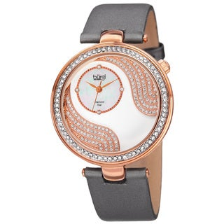Burgi Women's Quartz Diamond and Crystal Satin Silk Grey Strap Watch