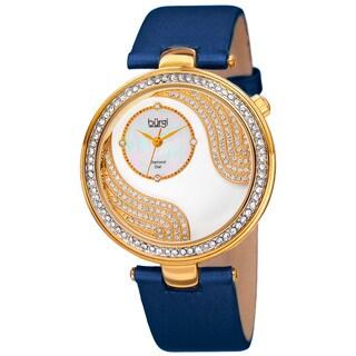 Burgi Women's Quartz Diamond and Crystal Satin Silk Blue Strap Watch