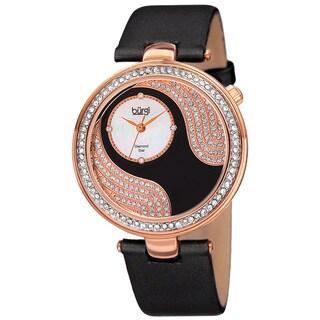 Burgi Women's Quartz Diamond and Swarovski Element Accented Satin Silk Black Strap Watch