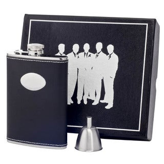 Visol Eclipse Z Black Leather Century II Flask Gift Set - 8 ounces