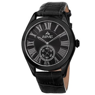 August Steiner Men's Quartz Alligator Embossed Leather Black Strap Watch