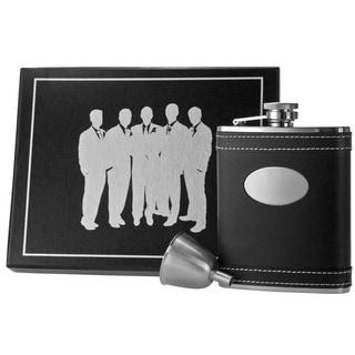Visol Marlon Black Leather Century Flask Gift Set - 6 ounces