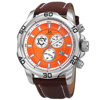 Joshua & Sons Men's Swiss Quartz Chronograph Multifunction Leather Silver-Tone Strap Watch