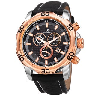 Joshua & Sons Men's Swiss Quartz Chronograph Multifunction Leather Rose-Tone Strap Watch - GOLD