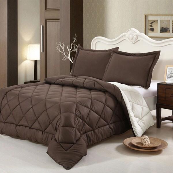 HCI Hand Crafted Brushed Velvet Down Alternative Reversible Twin Comforter Set