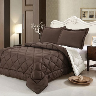 HCI Hand Crafted Brushed Velvet Down Alternative Reversible Twin Comforter Set