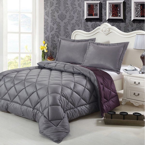 HCI Hand Crafted Brushed Velvet Down Alternative Reversible Excalibur Grey and Blacberry Twin Comforter Set