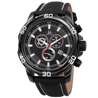Joshua & Sons Men's Swiss Quartz Chronograph Multifunction Leather Black Strap Watch