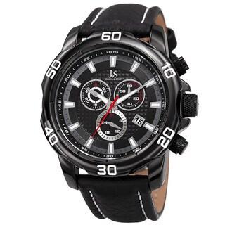 Joshua & Sons Men's Swiss Quartz Chronograph Multifunction Leather Black Strap Watch