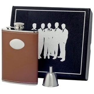 Visol Hound Brown Leather Century Flask Gift Set - 6 ounces