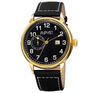 August Steiner Men's Swiss Quartz Multifunction Leather Gold-Tone Strap Watch