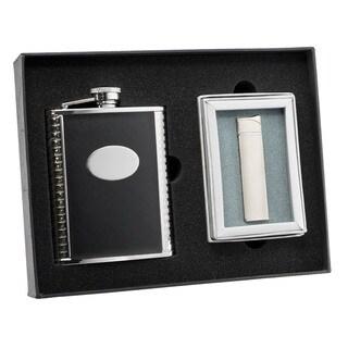 Visol Tux Black Leather Flask and Visol Tux Black Cyrillia Satin Chrome Traditional Flame Lighter Set