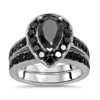 Noori 14k White Gold 2 7/8ct TDW Black Diamond Pear Bridal Set