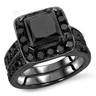 Noori 14k Black Gold 3 1/5ct TDW Black Diamond Princess Bridal Set