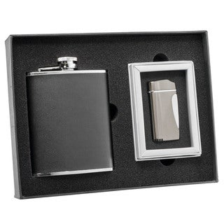 Visol Ano Black Leather Flask and Visol Ano Nolet Gunmetal Torch Flame Lighter Set