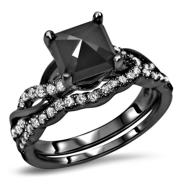 Noori 14k Black Gold 1 3/5ct TDW Black Diamond Cushion Bridal Set