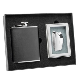 Visol Ano Black Leather Flask and Visol Ano Bot Silver Torch Flame Lighter Set