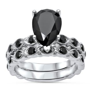 Noori 14k White Gold 2 1/2ct TDW Black Diamond Polished Engagement Ring Bridal Set