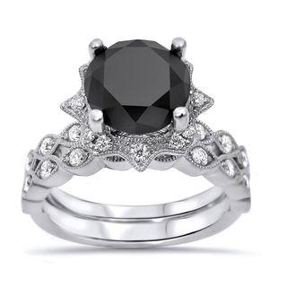 Noori 14k White Gold 2 1/6ct TDW Black Diamond Vintage Style Art Deco Bridal Set