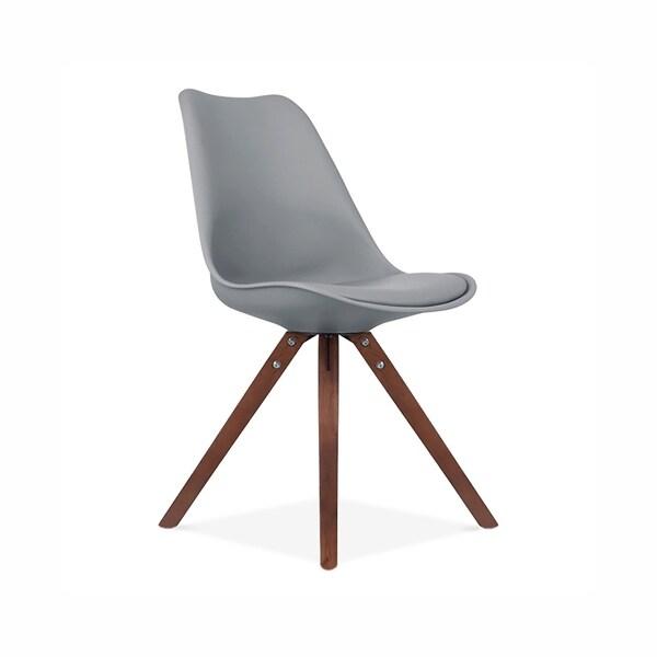 Viborg Grey Mid Century Side Chair Walnut Base (Set of 2)