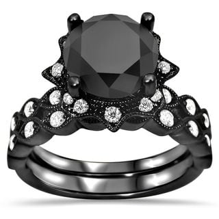 Noori 14k Black Gold 2 1/6ct TDW Black Diamond Vintage-style Bridal Set