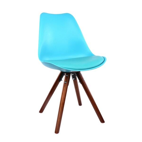 Shop Viborg Blue Mid Century Side Chair Walnut Base Set