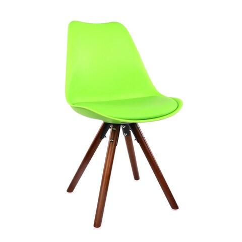 Viborg Green Mid Century Side Chair Walnut Base (Set of 2)