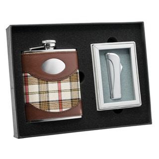 Visol Braw Plaid Leather Flask and Visol Braw Neo Satin Chrome Torch Flame Lighter Set