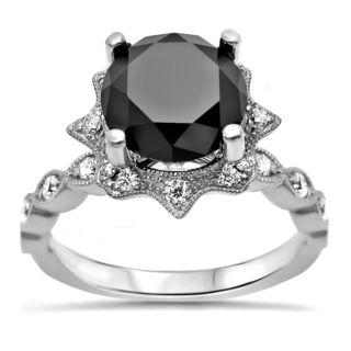 Noori 14k White Gold Certified 2ct TDW Black Diamond Art Deco Vintage Style Ring