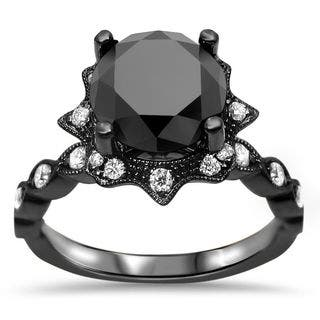 Noori 14k Black Gold Certified 2ct TDW Round-cut Black Diamond Art Deco Ring - White|https://ak1.ostkcdn.com/images/products/10840466/P17881933.jpg?impolicy=medium