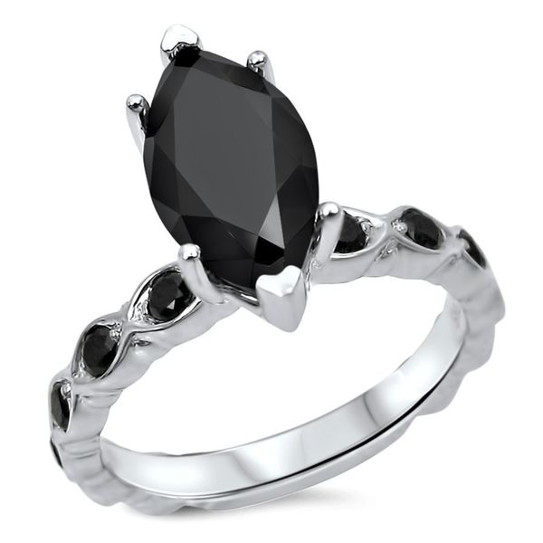 Noori 14k White Gold Certified 2 1/10ct TDW Marquise Black Diamond Solitaire Ring
