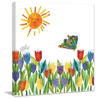 Marmont Hill - Butterfly Kissing Tulips by Eric Carle Painting Print on Canvas