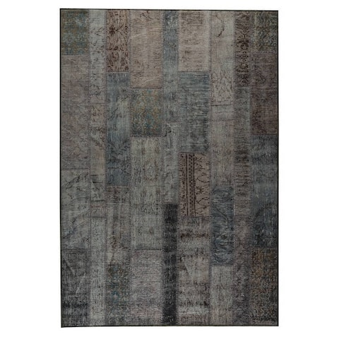 Handmade Printed Adana Blue Vintage Print Rug (India) - 5' x 8'
