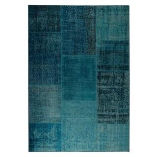 M.A.Trading Hand Printed Konya Turquoise Vintage Print Rug (India)