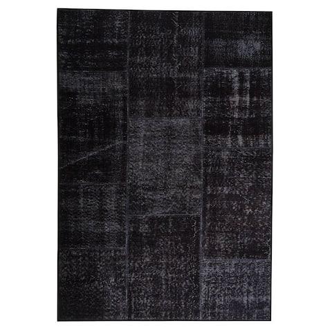 Handmade Printed Konya Charcoal Print Rug (India)