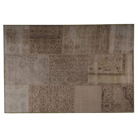 Handmade Printed Konya Sand Vintage Print Rug (India) - 4' x 6'