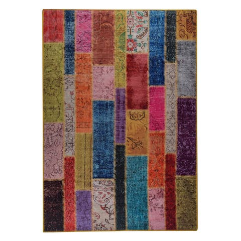 Handmade Printed Adana Multi Vintage Print Rug (India) - 5' x 8'